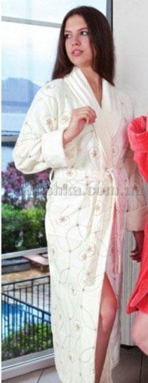 Халат женский длинный велюровый с вышивкой Nusa NS-14000