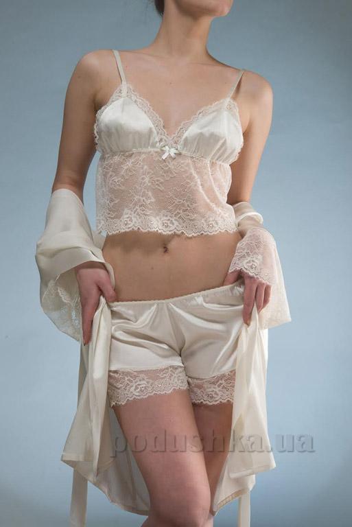 Женский шелковый комплект Имате 7 халат, майка и шорты