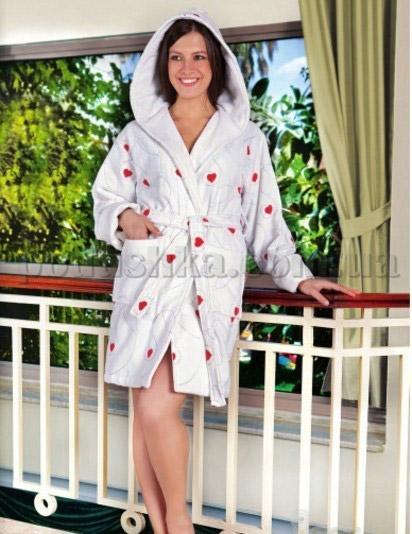 Халат женский короткий велюровый с вышивкой Nusa NS-11270