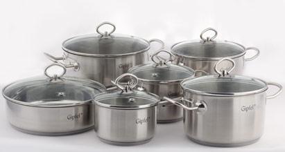 Набор посуды 12 предметов TRIUMPH стекло/крышка, GIPFEL