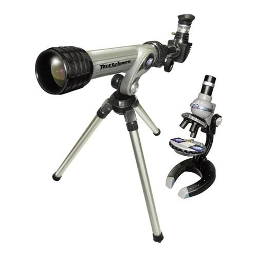 Набор микроскоп  и телескоп серый цвет