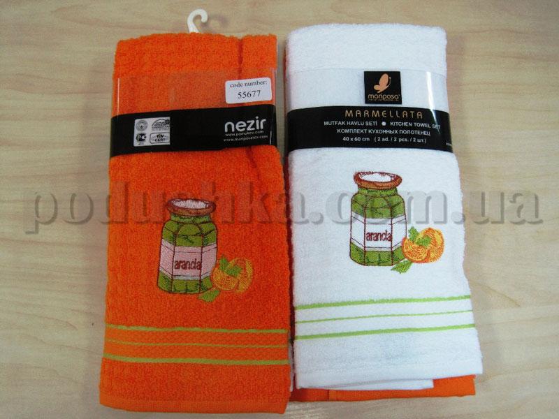 Набор кухонных полотенец Mariposa Marmellata Апельсин 008 оранжевое-белое