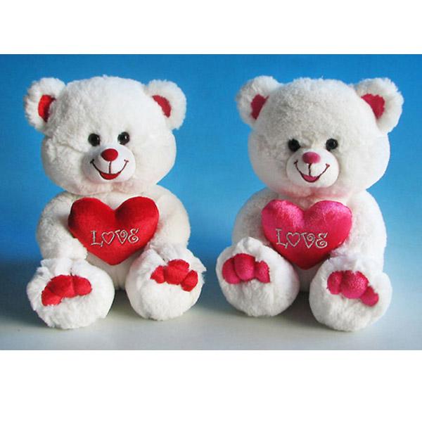 Мягкая игрушка - Медведь белый с красным сердцем