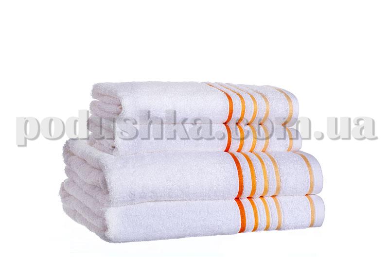 Полотенце махровое SPRING белый/оранжевый