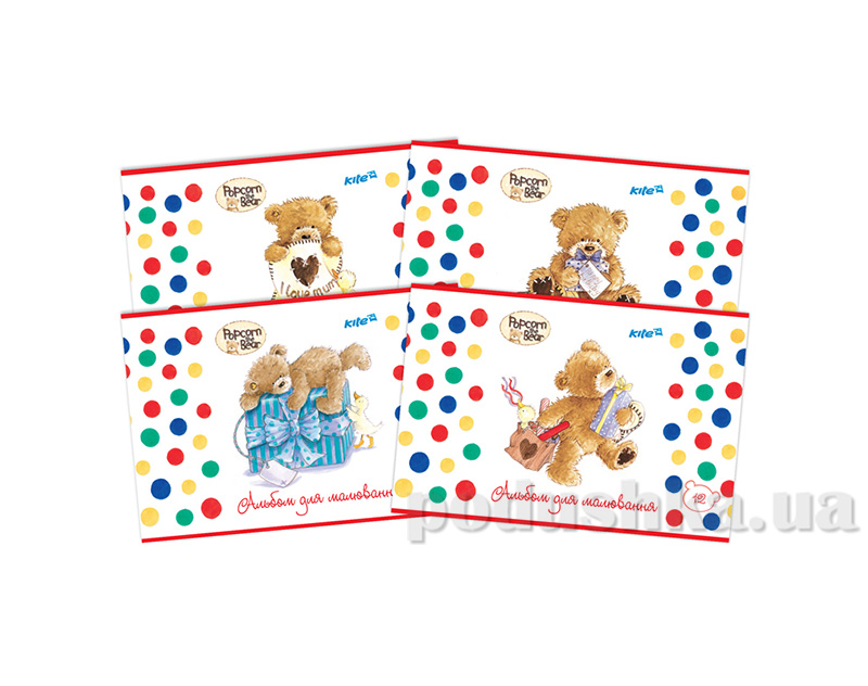 Альбом для раскрашивания Kite Popcorn Bear PO14-241K