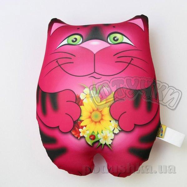 Антистрессовая подушка Штучки Кот с подарком розовая