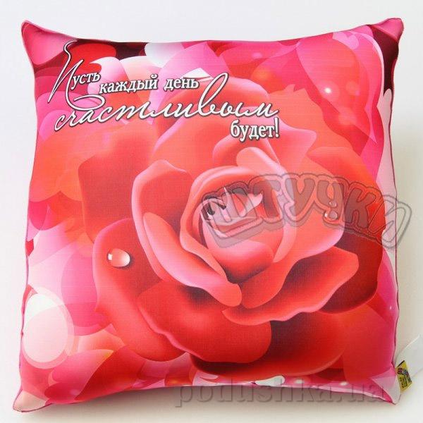 Антистрессовая подушка Штучки Цветы-весна розово-красная