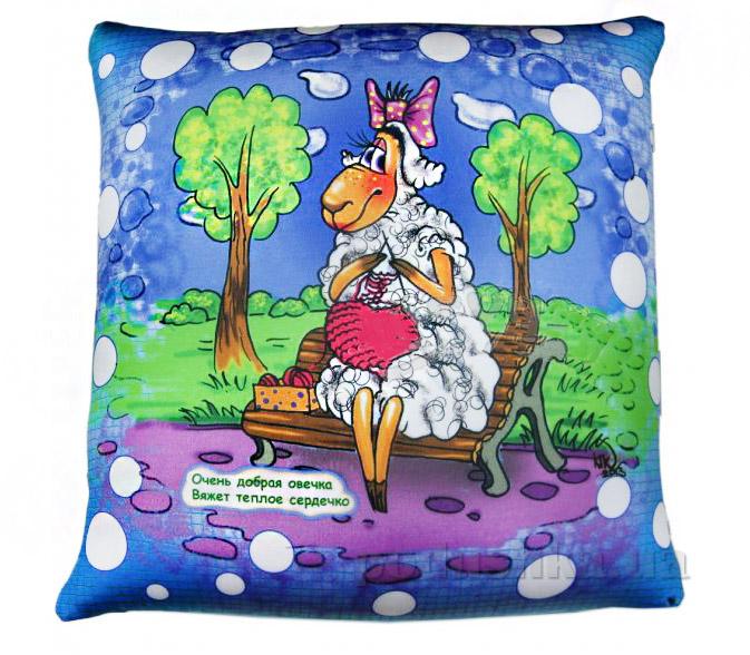 Антистрессовая подушка Веселая овечка вяжет теплое сердечко Штучки 15асп01ив
