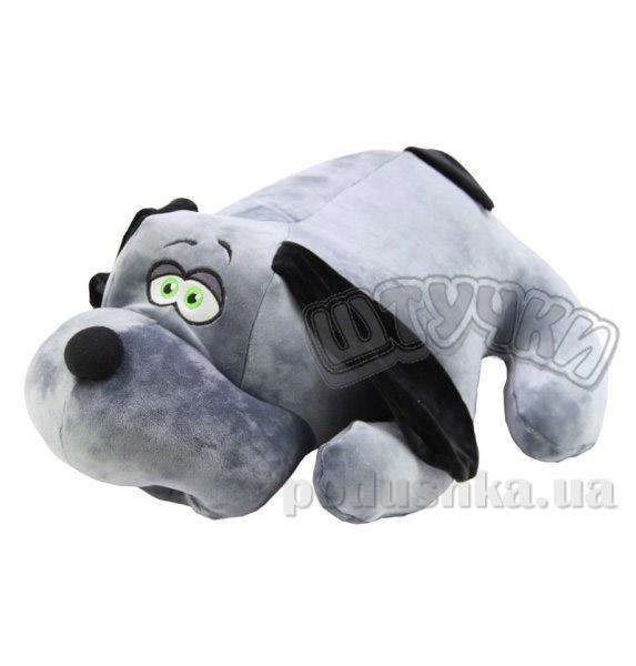 Антистрессовая подушка-игрушка Штучки Собака Джой большая серая