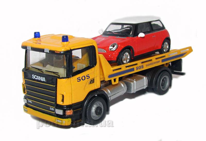 Автомодель 1:80 Эвакуатор Scania и легковое авто New Mini Cooper Cararama