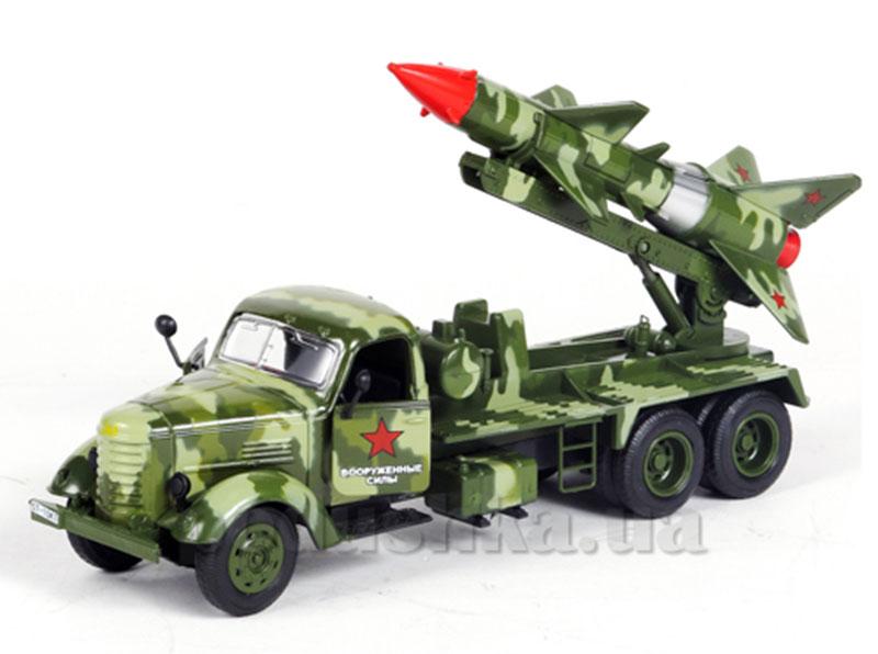 Автомодель Военная техника с ракетой xl (ассорти зеленый, серый и зеленый милитари, свет, звук)