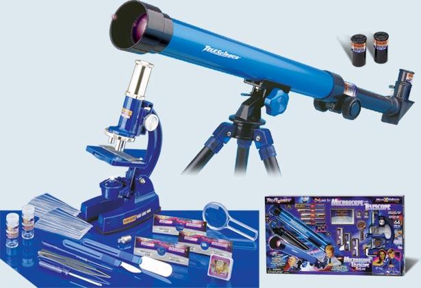 Набор 64 эл. микроскоп(100х450х900) и телескоп(25/50)(с предметными стеклами и образцами)