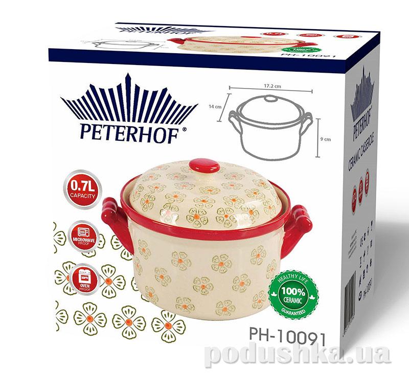 Кастрюля керамическая Peterhof круглая PH-10091 0,7 л с крышкой   Peterhof