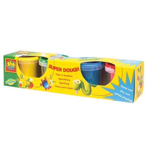 Незасыхающая масса для лепки - Малыш (4 цвета, упаковка - пластиковые баночки)