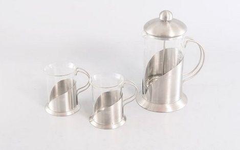 Кофейник и 2 стакана по 200 мл(стекло, нерж сталь) 8538