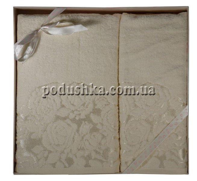 Набор махровых полотенец ROSE(GULLU) ECRU (2шт), Pavia