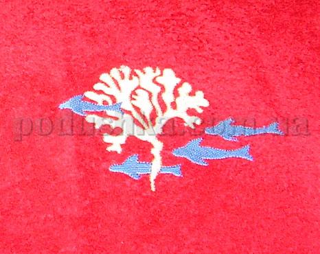 Полотенце махровое с вышивкой Унисон Reef бордовый