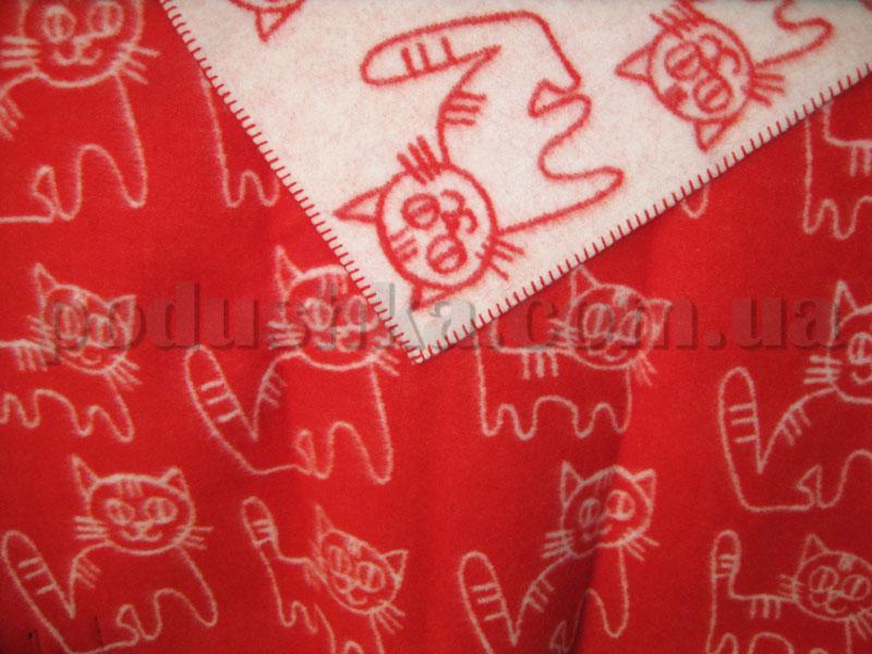 Одеяло детское Klippan Saule Котята красно-белое