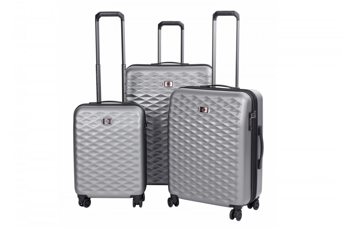 Набор пластиковых чемоданов Wenger Lumen 20-24-28 4 колеса серый 604335