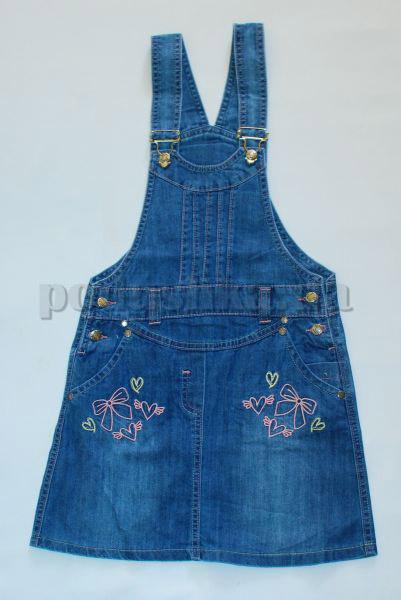 Сарафан с вышивкой Бемби СФ74 джинс
