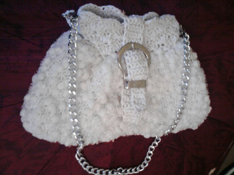 Женская сумка с цепью, белая