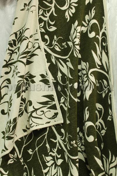 Покрывало шенилловое Klippan Saule 1811 темно-оливковое-белое