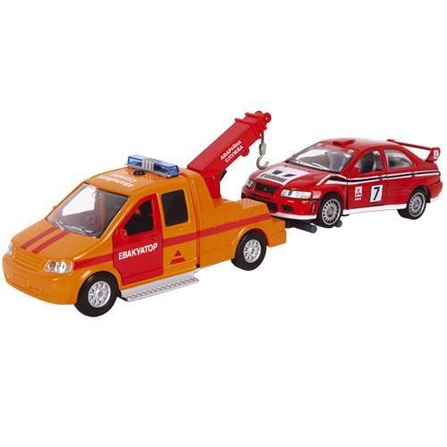 Игровой набор - Аварийная служба (эвакуатор, машинка, свет, звук)