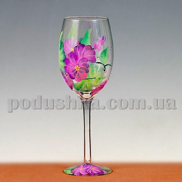 Бокалы для вина Фиалки - ручная роспись