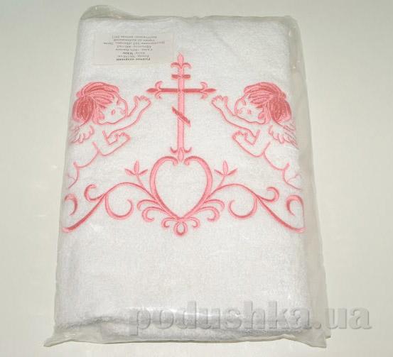 Крыжма для малыша Nostra бело-розовая 70х140 см  Nostra