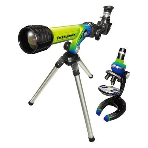 Набор микроскоп и телескоп зелено-голубого цвета