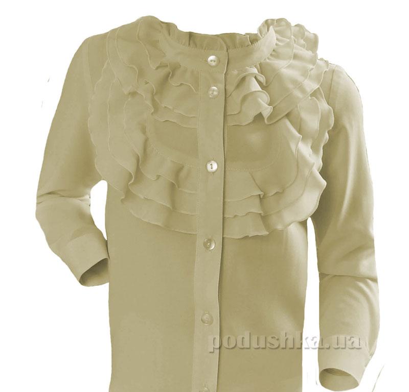 Блуза с жабо Промiнь ВД0932. кофейная