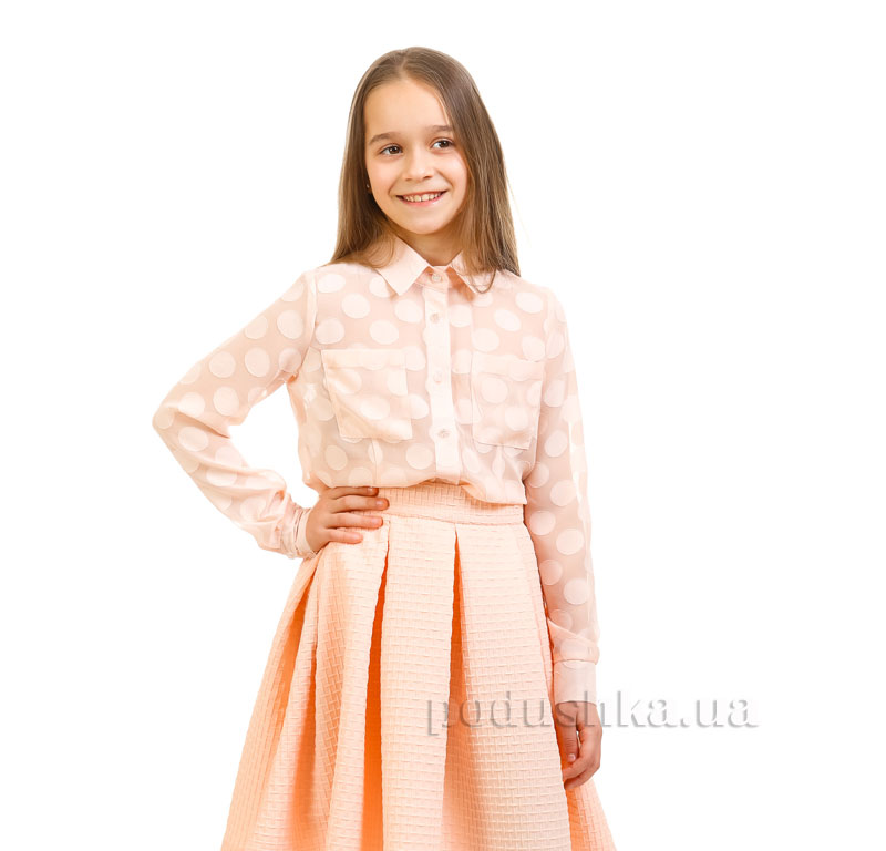 Блуза шифоновая Горох Kids Couture персиковая
