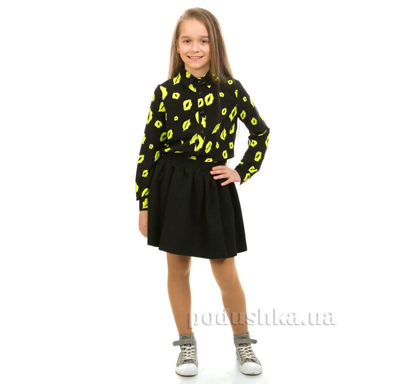 Блуза шифоновая Желтые Губы Kids Couture черная