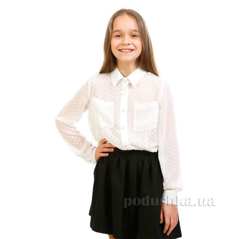 Блуза шифоновая Жемчуг Kids Couture белая