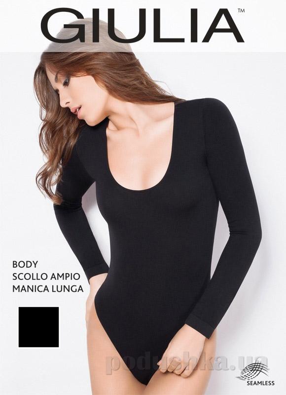 Боди черное Scollo ampio manica lunga Giulia nero