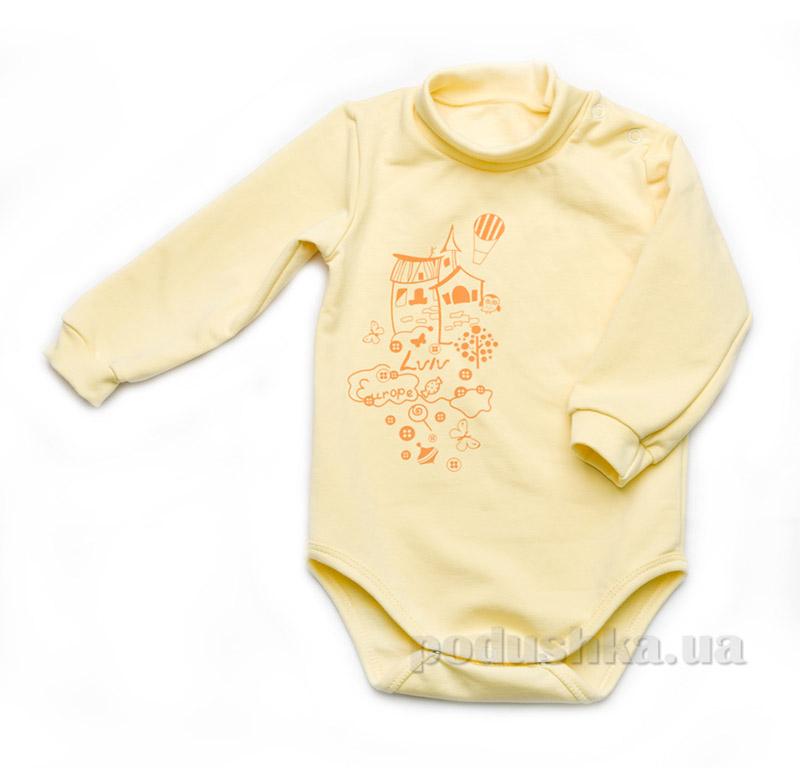 Боди для новорожденного из футера с длинным рукавом Модный карапуз 302-00015 Желтое