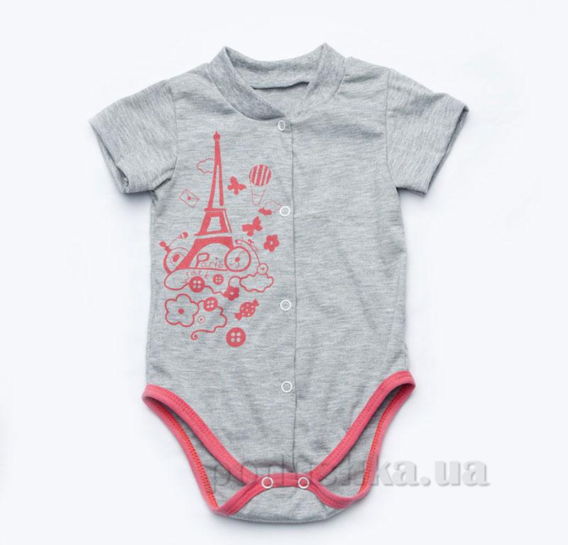 Боди для новорожденной девочки Модный карапуз 303-00015 серое с розовым