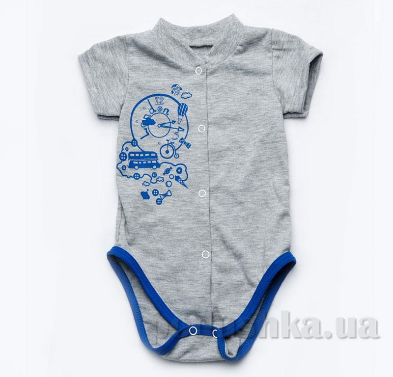 Боди для новорожденного мальчика Модный карапуз 303-00015 серое с синим