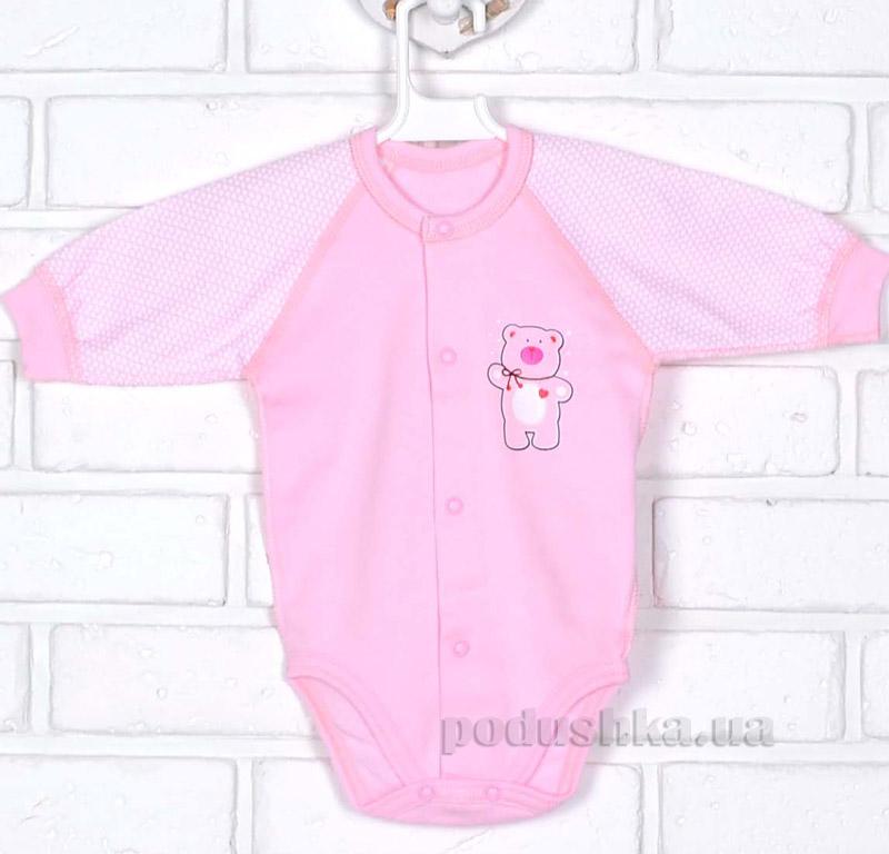 Боди Татошка 14951 с длинным рукавом розовый в клетку