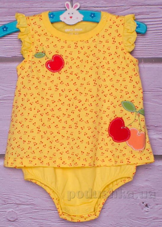 Боди-песочник Gloria Jeans 66291 желтое с вишенками
