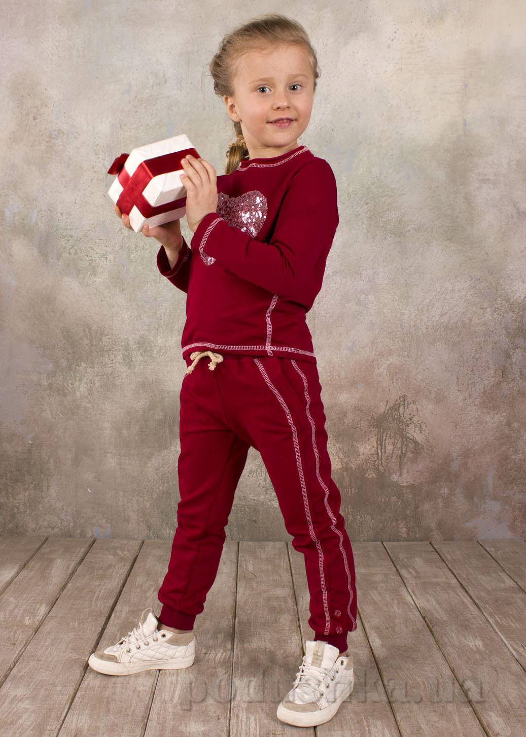 Брюки для девочки спортивные Модный карапуз 03-00570 бордовые