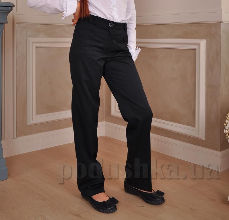 Школьные брюки для девочки Милана БД-03123 черные с вышивкой