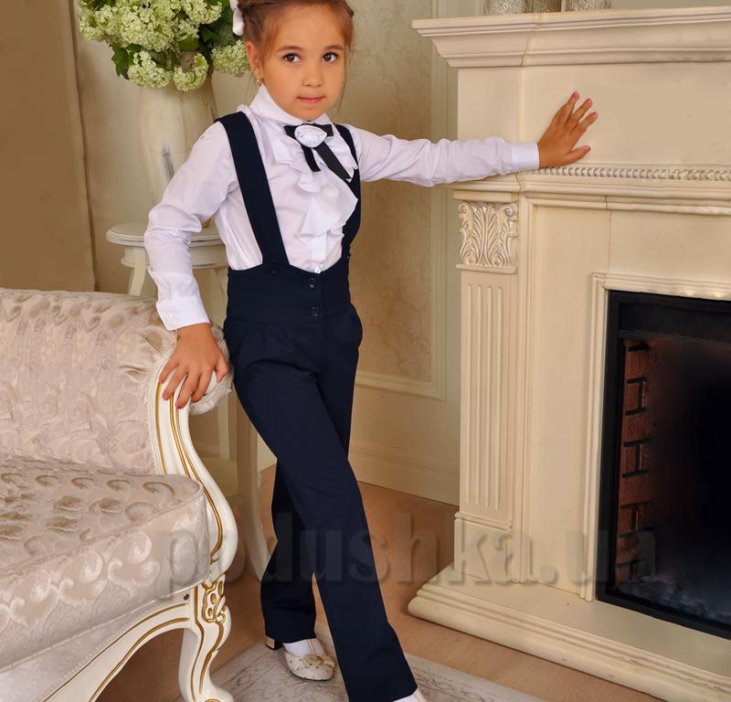 Школьные брюки синие Милана БД-02122 на бретелях