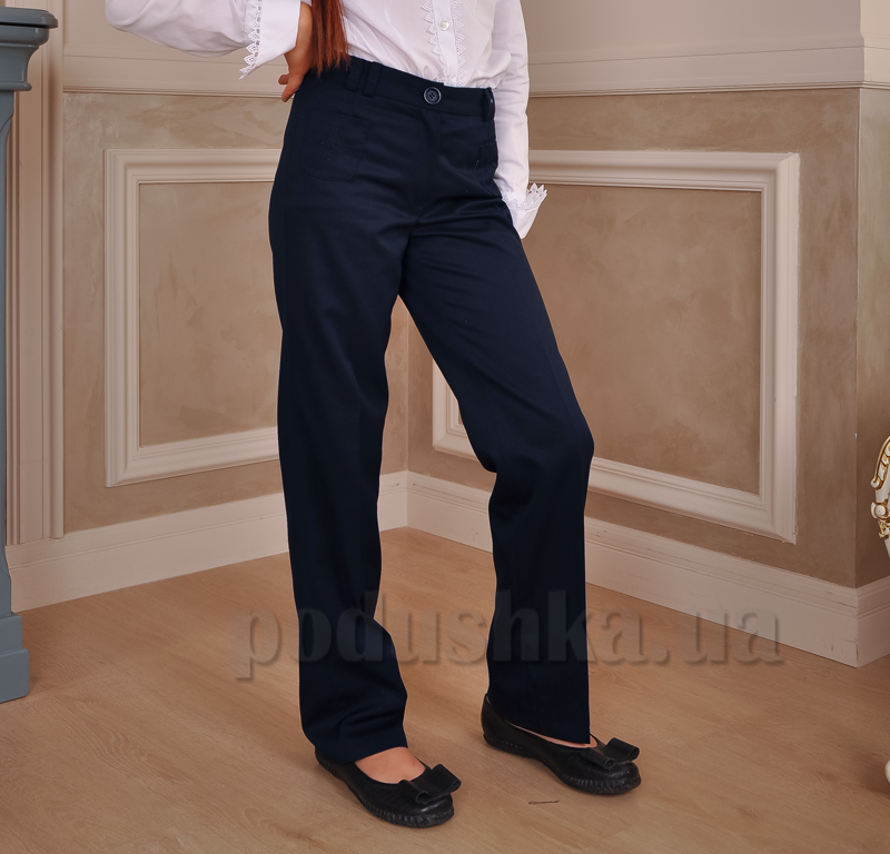 Брюки школьные синие Милана БД-03123 с вышивкой