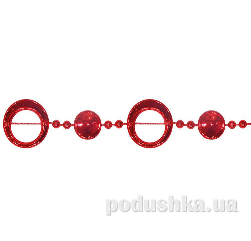 Бусы новогодние Колечки Новогодько 972120 Красные