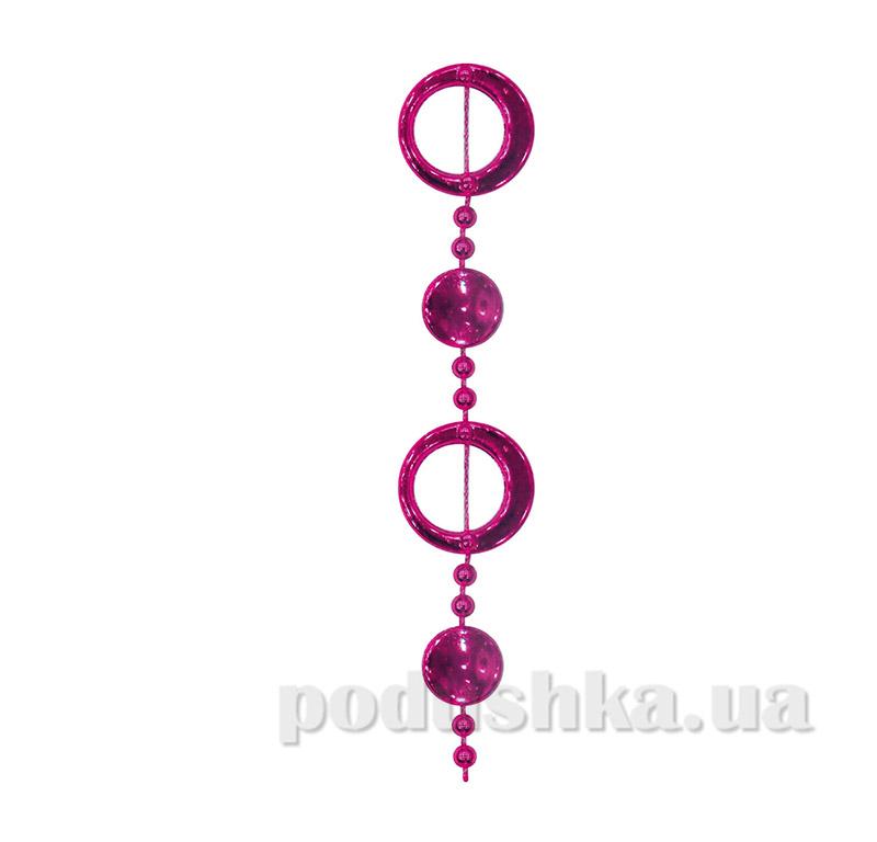 Бусы новогодние Колечки Новогодько 972123 розовые