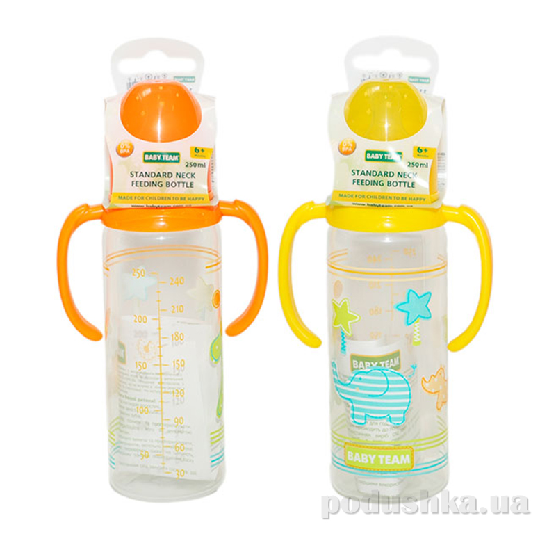 Бутылочка для кормления с ручками, 250 мл Baby Team AKT-1104