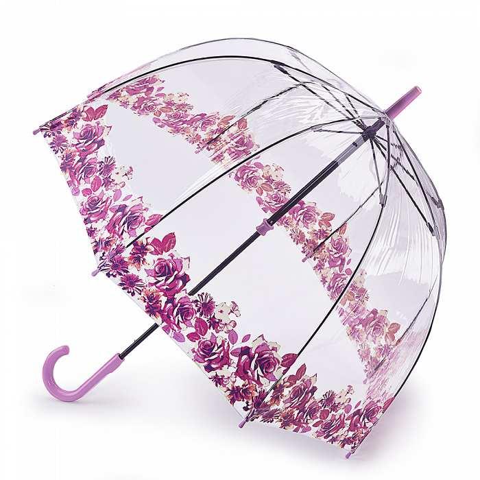 Женский зонт-трость прозрачный Fulton Birdcage-2 L042 Crimson Floret багровый цветочек