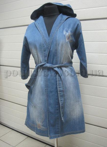 Халат женский джинсовый с капюшоном Nusa NS-800
