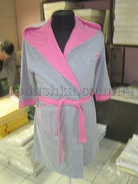 Халат женский короткий с капюшоном Nusa NS-555